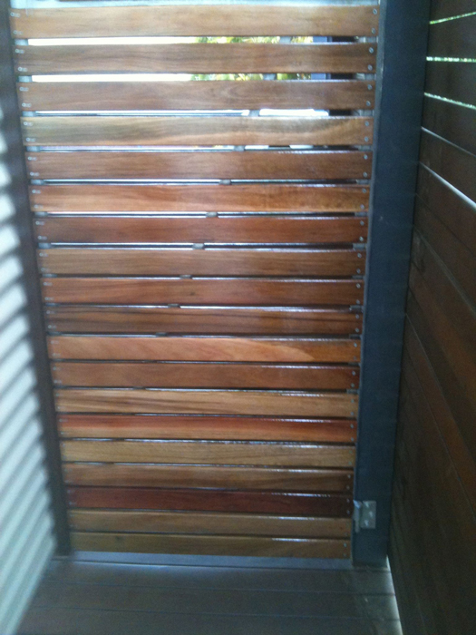 Custom galvanised steel and hardwood slatted gate